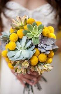 Craspedia and succulent bouquet