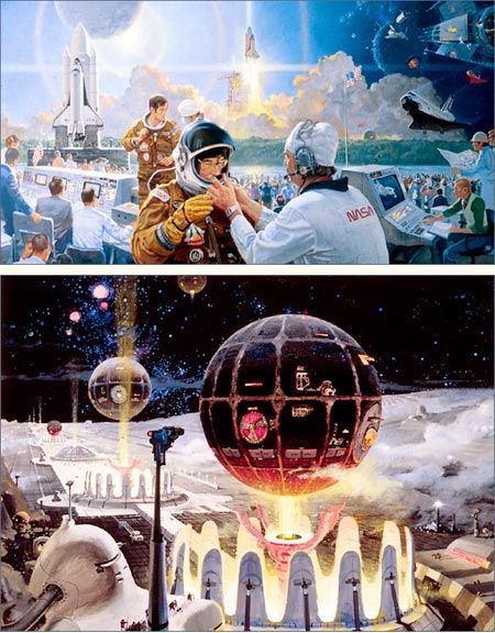 Future of space travel in Life magazine in the early 1960′s by Robert McCall.