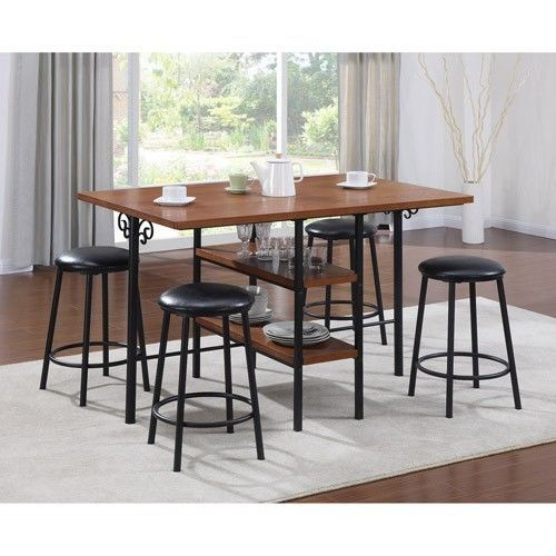 chloe 5 piece storage pub set oak black dining room kitchen space