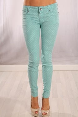 MINT STRETCH POLKA DOTS BUTTON FLY SKINNY PANTS || Shop PinkBasis and ...