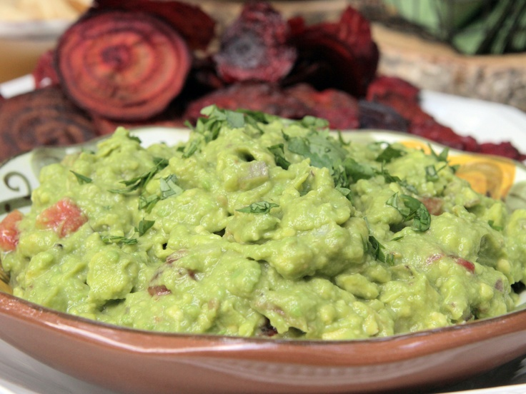 Guacamole and Baked Beet Chips from CookingChannelTV.com