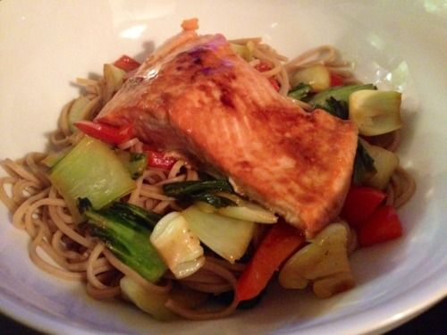 Soy glazed salmon, buckwheat noodles with bok choy and red peppers ...