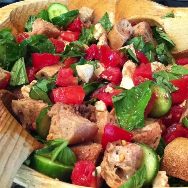Panzanella Salad - Sweet basil, tomato, fresh mozzarella, cucumber ...