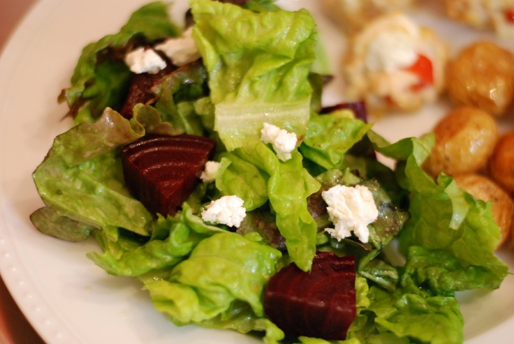 roasted beet salad with goat cheese and honey dijon vinaigrette