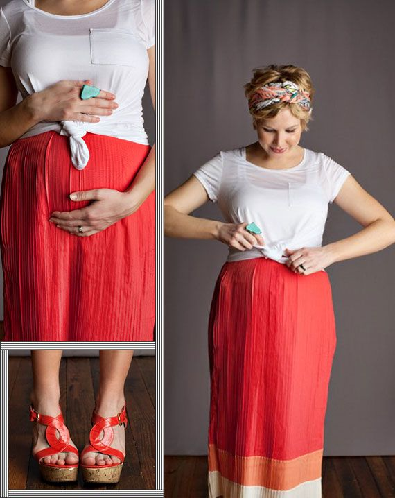 pregnancy style inspiration -- show off that bump with a knot in your shirt
