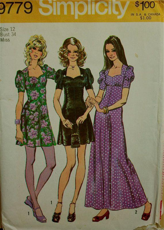 1970s Mini & Maxi Dress Sweetheart Neckline Simplicity Pattern 9779 S ...