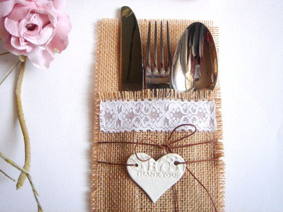 50 Wedding  Fflatware Silverware Holders and Clay Hearts