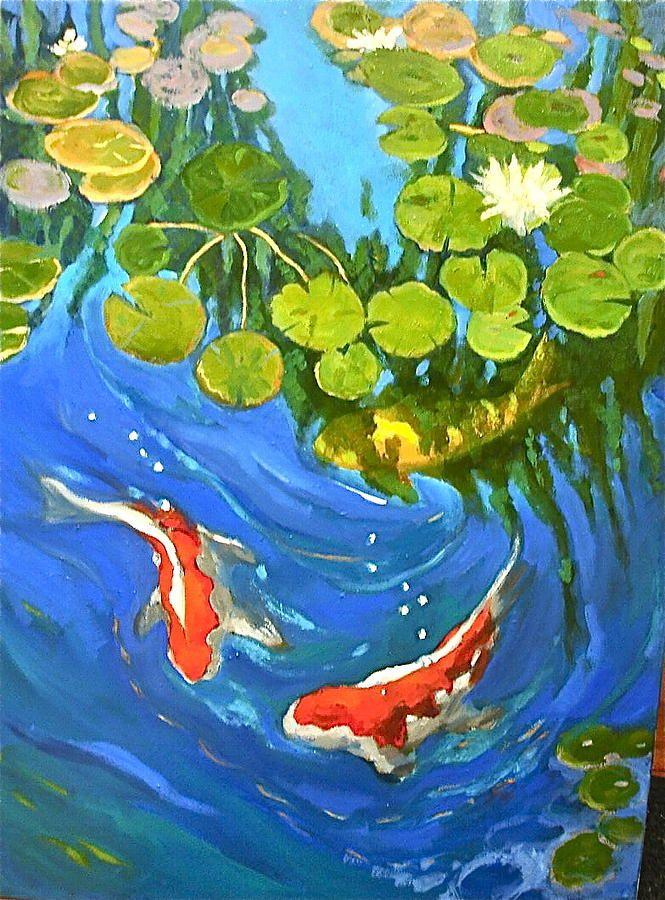 Koi pond painting by lynne friedman art pinterest for Koi fish pond art