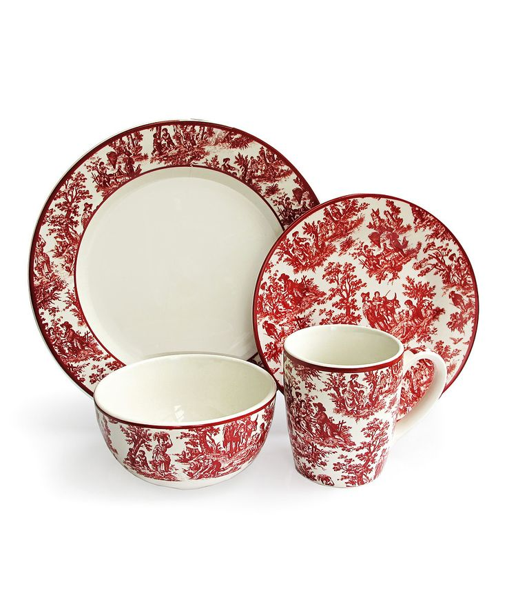 Red Country Life Dinnerware Set