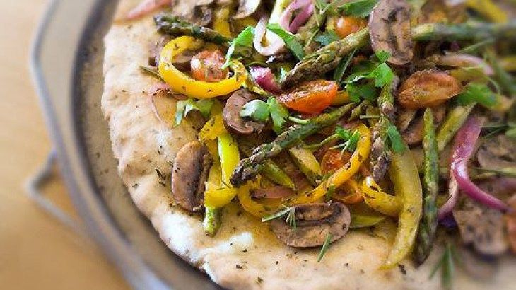 ... -Free Pizza Flatbread Recipe Topped with Roasted Vegetables Recipe