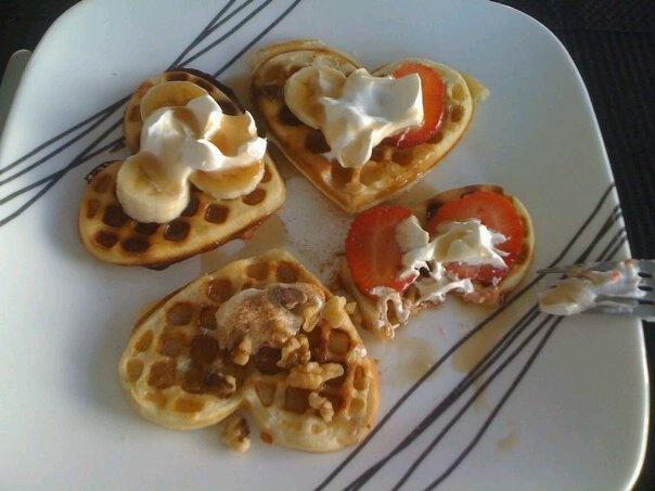 ... Waffles w/ strawberries & whipped cream, maple walnut, cinnamon sugar
