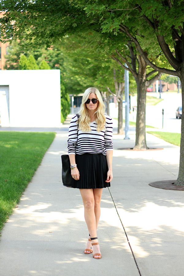 Striped Sweater and Pleated Skirt for fall!  #KatalinaGirl #fashion #blogger #style #trend #fallstyle #sunnies