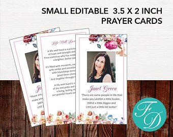 Printable Prayer Card, Memorial ideas, funeral ideas, funeral printables, editable prayer cards, small prayer cards