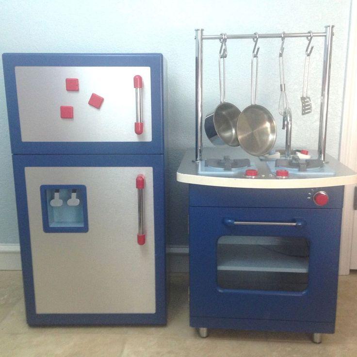 pottery barn kids blue retro kitchen set stove fridge boy girl plus p