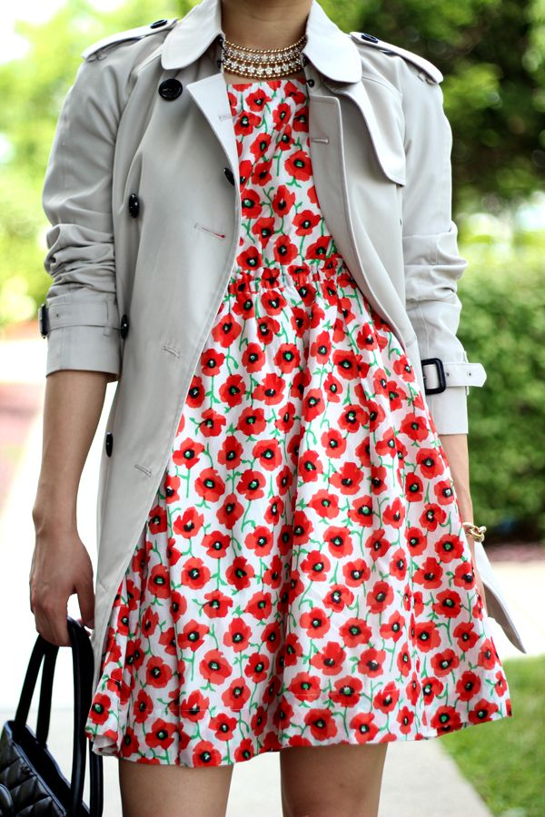 Printed Dress and Khaki Trench