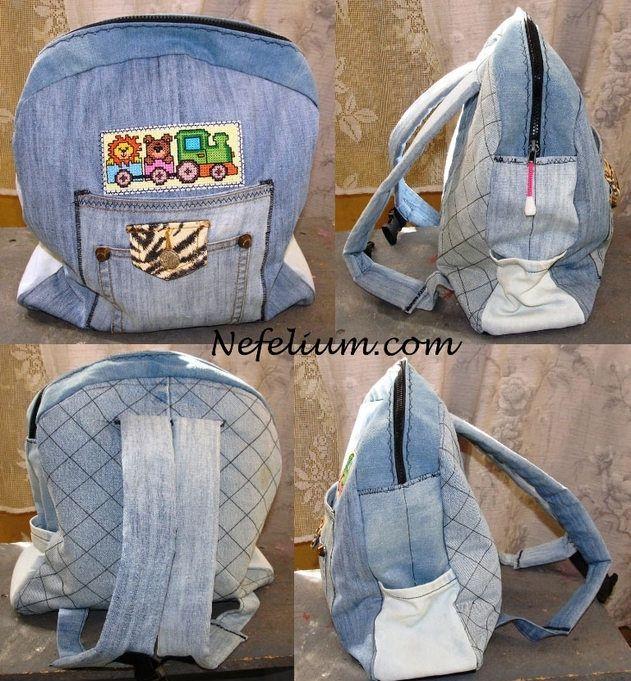 Детский рюкзак для девочки из джинсов