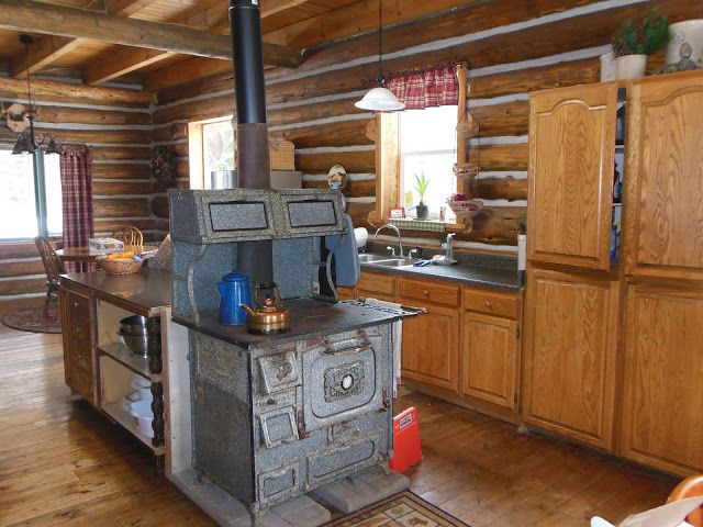 Cabin Kitchen Log Cabin Kitchen With Wood Cook Stove Farmhouse Wood
