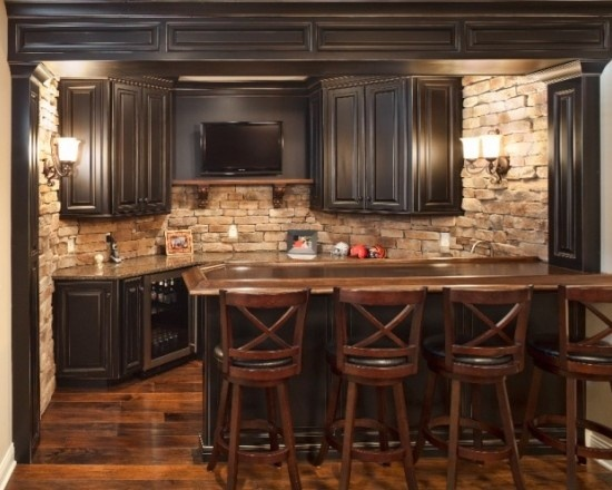love the brick wall cabinet color floor good for basement kit bar