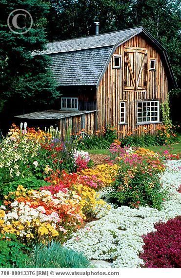 Old barn and flower garden outdoor inspiration pinterest for Classic house with flower garden