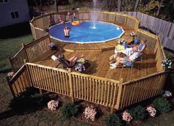 Pool decks above ground pictures ideas pinterest for Above ground pool decks