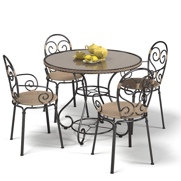 Wrought iron garden furniture landscape pinterest for Rod iron patio furniture