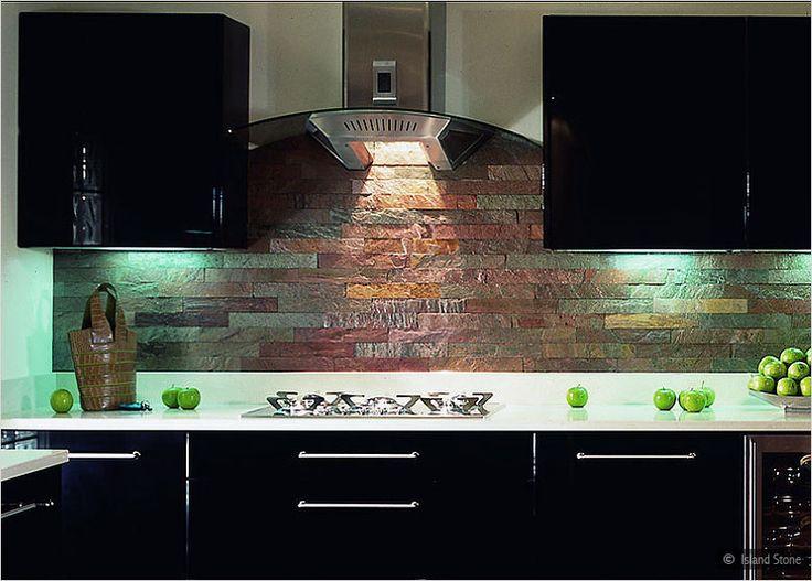 glass countertop copper backsplash dark cabinets copper subway slate