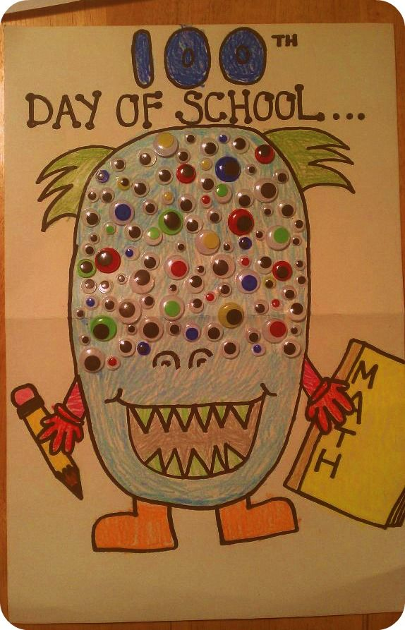 100th Day Of School Project.. 100-Eyed Monster. My 6 year old son  I made this together.