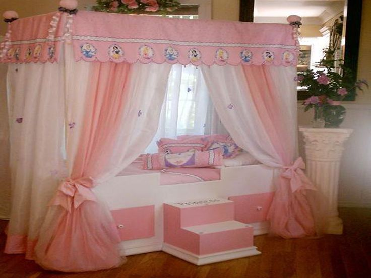 disney princess bed with canopy curtains | For the Home | Pinterest