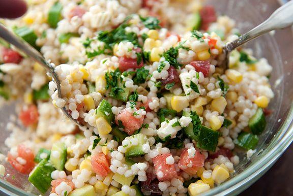 Israeli Couscous Salad - 1 cup Israeli couscous - 1 cob of corn ...