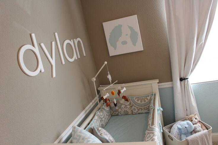 Dylan's Light Aqua and Taupe Nursery - love the dog artwork over the crib! #nursery #furbaby