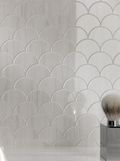 Fish scale patterned tile materials pinterest for Fish scale tiles bathroom