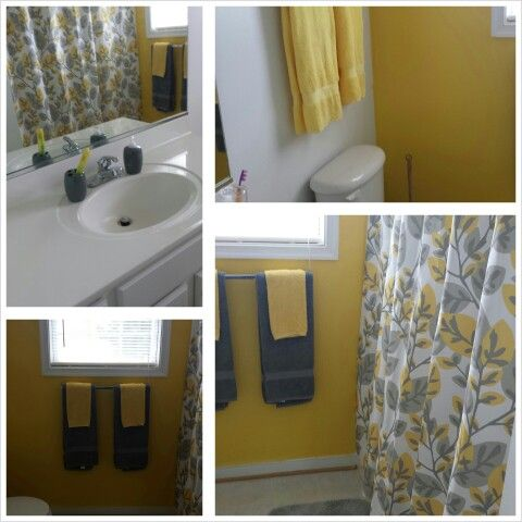 Gray and yellow shower curtain bathrooms pinterest for Bathroom yellow and gray