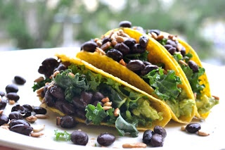Black Bean, Kale and Avocado Tacos ~ meatless and gluten-free