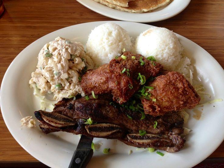 Korean chicken & Kalbi short ribs at #Hawaiian Style Cafe