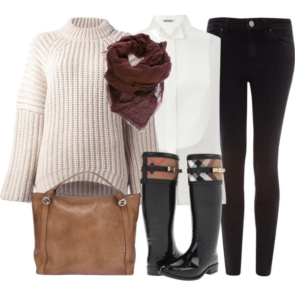 Balenciaga cream sweater, Acne Sheena tuxedo blouse, Burberry Aberfield boots, Gucci bag, Faliero Sarti Alexander scarf.