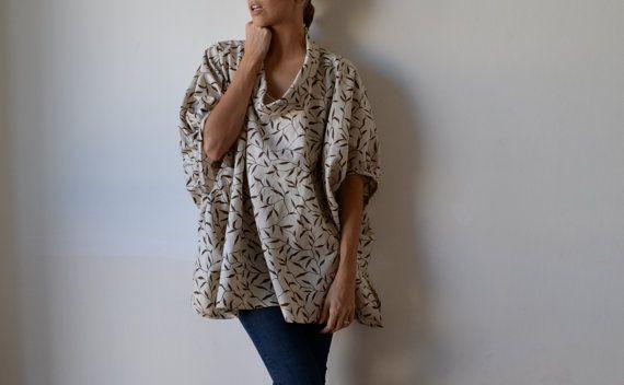 Beige linen womens smock top tunic. Plus size. by MuguetMilan, $150.00