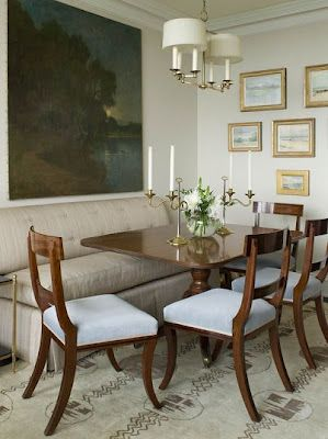 Dining Room concept #2 - Like banquette seat, painting and calm quality.  formal dining with banquette