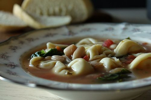 Tortellini, kale, and white bean soup Super quick to pull together and ...