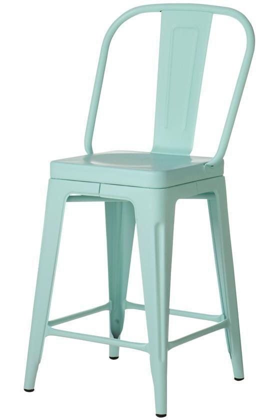 aqua aluminum counter stool Heart Place Seaside