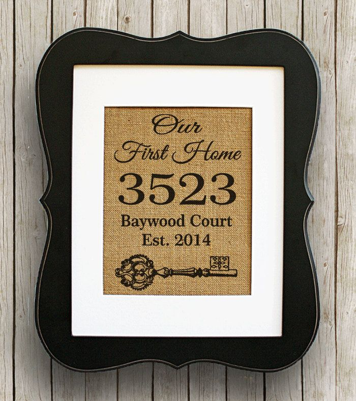 Personalized Housewarming Gift Burlap Print Home Address