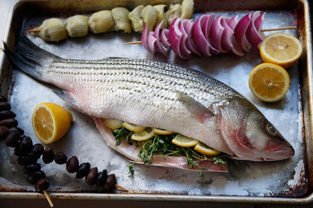 Whole Grilled Bass with Olives, Onion, and Artichoke | Recipe