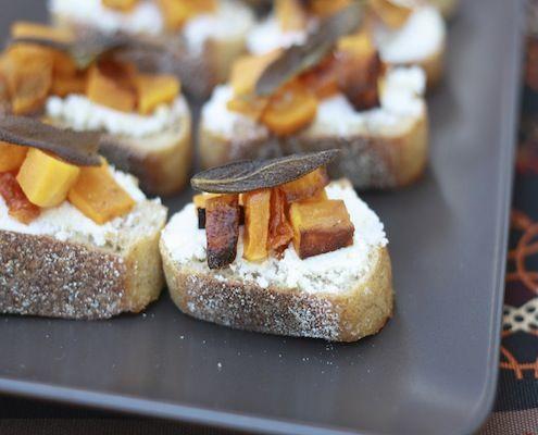 Butternut Squash, Sage, and Ricotta Crostini | Recipe