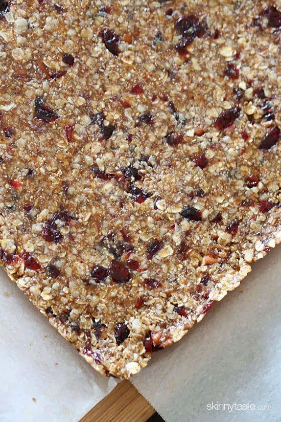 Morning Maple Cranberry Pecan Oat Bars | Skinnytaste
