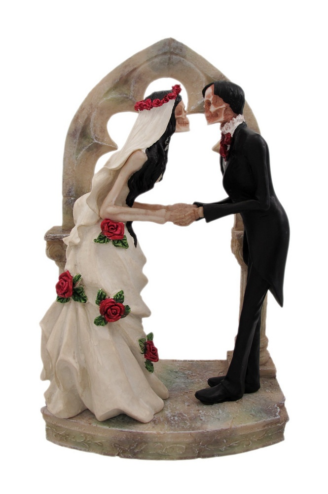 day of the dead wedding skeleton couple cake topper
