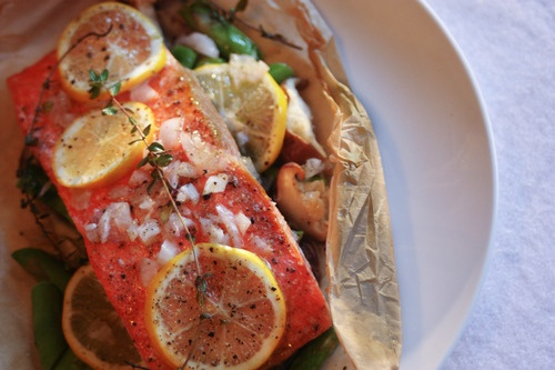 Salmon, shitakes, and asparagus baked in parchment