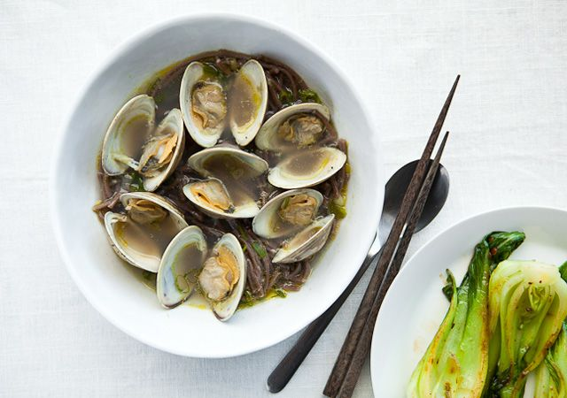 ... Steamed Clams with Soba Noodles & Bok Choy with Chili-Black Bean Paste