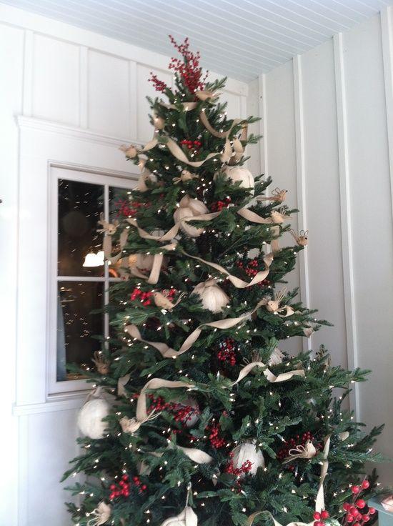 Burlap decorated Christmas tree | Christmas | Pinterest