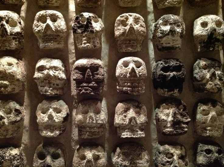 Skull decor from the Ancient Aztec Templo Mayor, Mexico City.