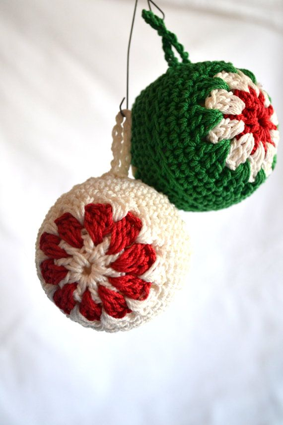 Crochet Christmas Ornaments : Vintage Crocheted Christmas Tree Ornaments, Balls, Decorations