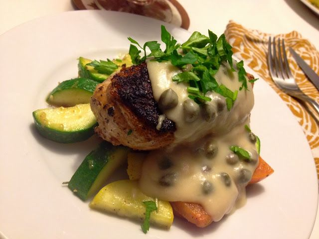 Blackened chicken breast with a lemon-caper beschamel sauce over ...
